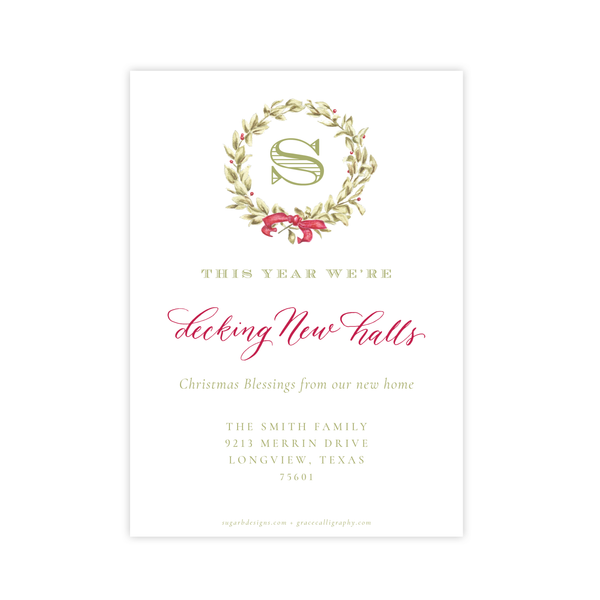 Meryl Wreath Red Change of Address Christmas Card