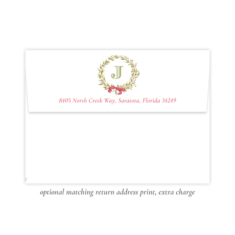 Meryl Wreath Red Return Address Print