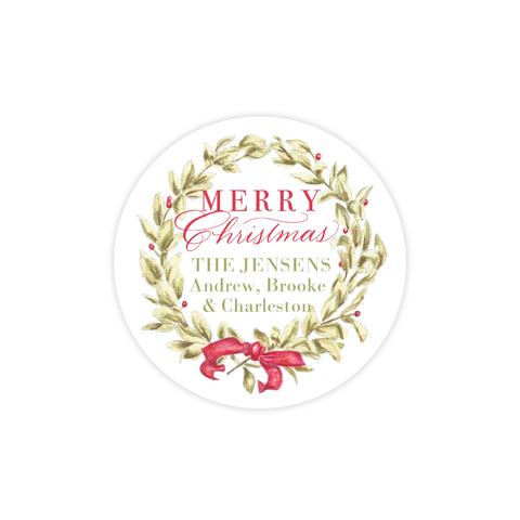 Meryl Wreath Red Round Sticker