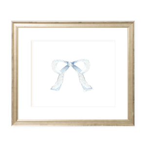 Mini Blue Bow Landscape Watercolor Print