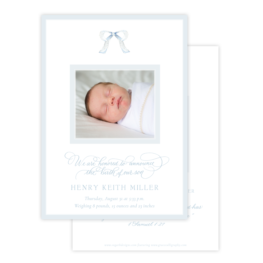 Mini Blue Bow Birth Announcement