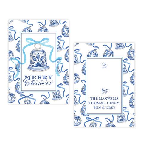 Mitchell Manor Blue 4 Bar Christmas Gift Tag