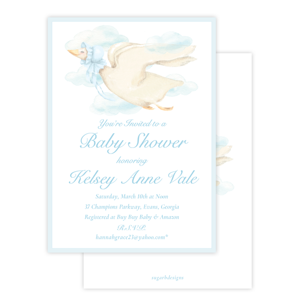Mother Goose Blue Baby Shower Invitation