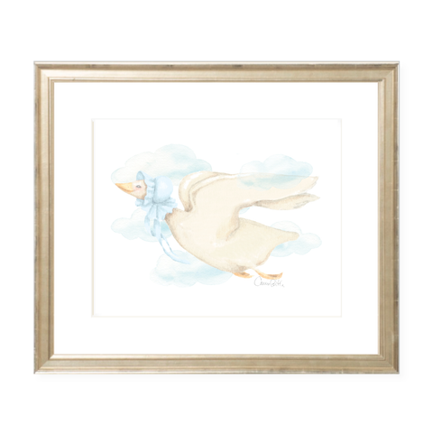 Mother Goose Blue Landscape Watercolor Print