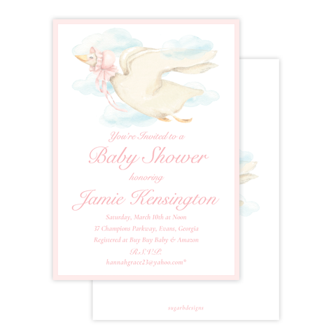 Mother Goose Pink Baby Shower Invitation