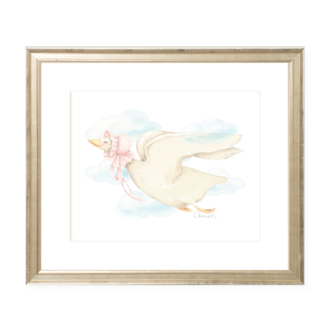 Mother Goose Pink Landscape Watercolor Print