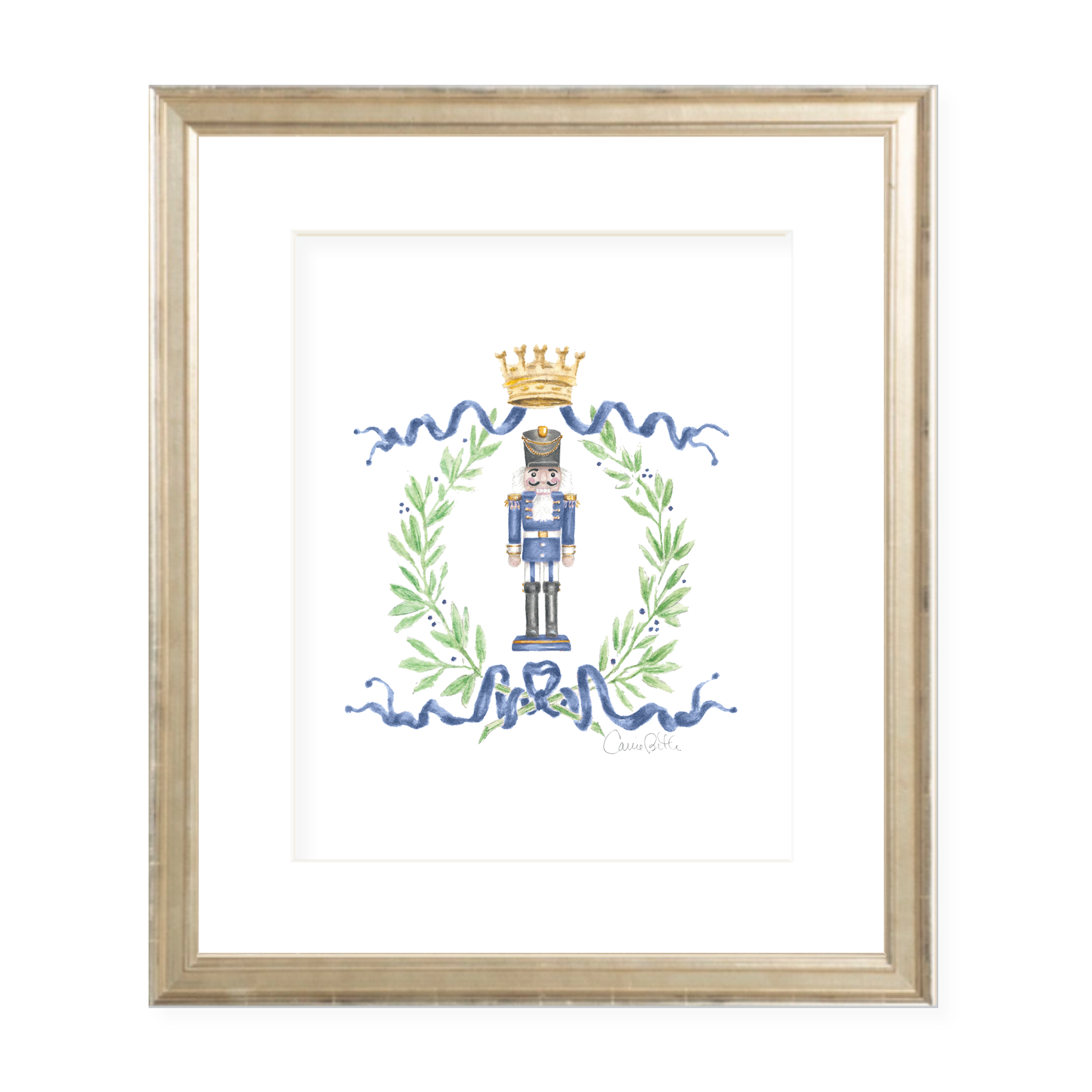 Nutcracker Royal Wreath Dark Blue Christmas Art Print