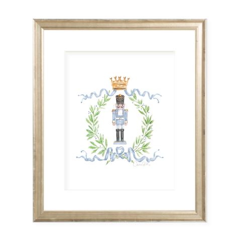 Nutcracker Royal Wreath Light Blue Christmas Art Print