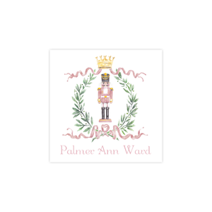 Nutcracker Royal Wreath Pink Christmas Square Sticker