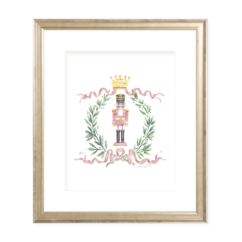 Nutcracker Royal Wreath Pink Christmas Art Print