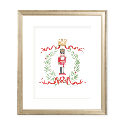 Nutcracker Royal Wreath Christmas Art Print