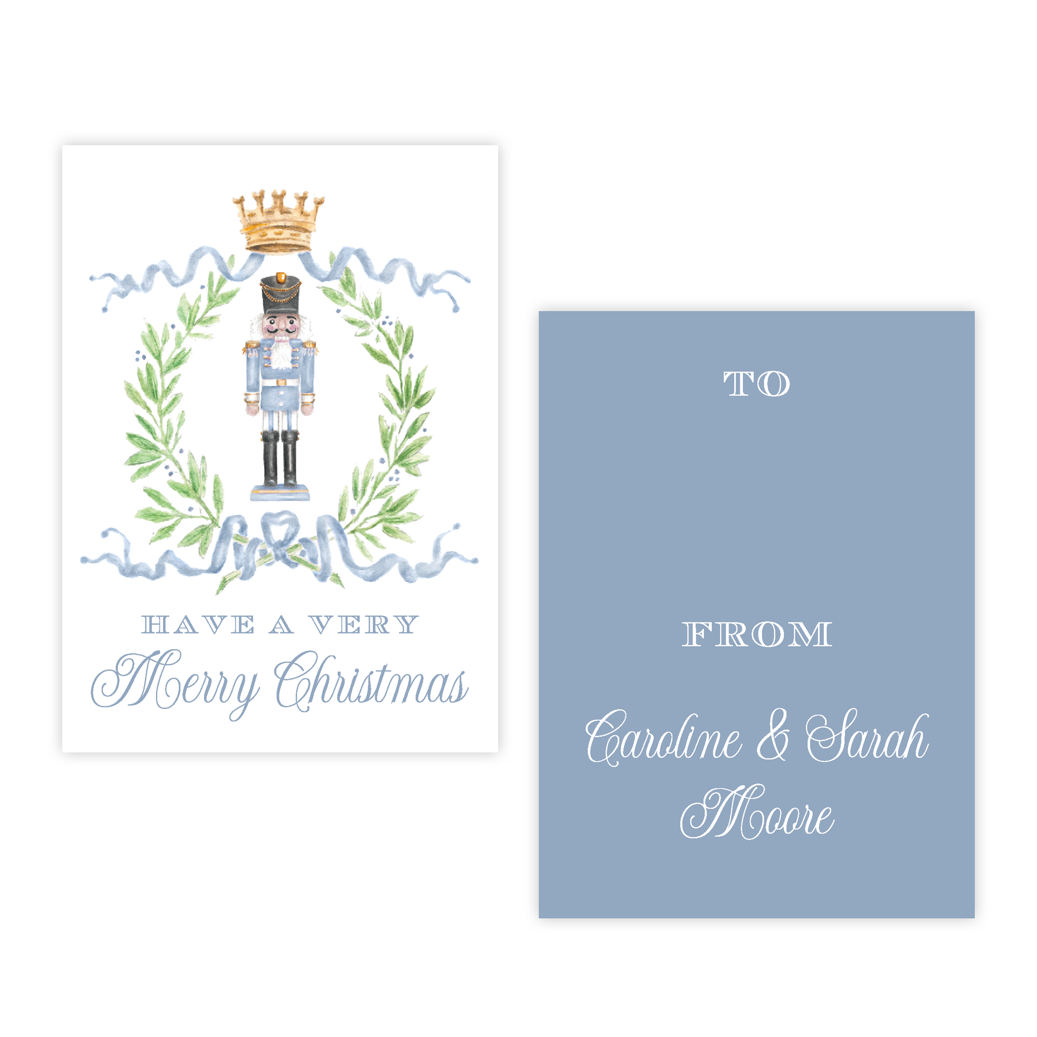 Nutcracker Royal Wreath Blue 4 Bar Christmas Gift Tag