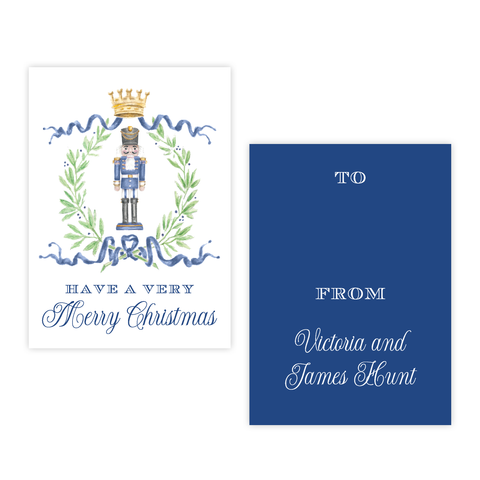 Nutcracker Royal Wreath Dark Blue 4 Bar Christmas Gift Tag