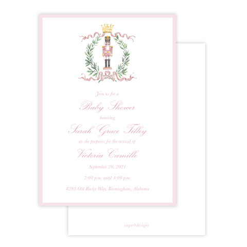Nutcracker Royal Wreath Pink Baby Shower Invitation