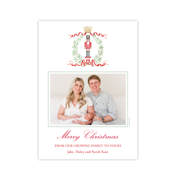 Nutcracker Royal Wreath Birth Announcement Christmas Card