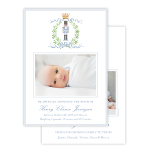 Nutcracker Royal Wreath Blue Birth Announcement Christmas Card