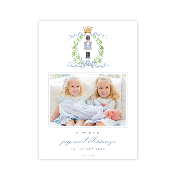 Nutcracker Royal Wreath Blue Vertical Christmas Card