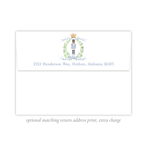Nutcracker Royal Wreath Blue Return Address Print
