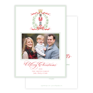 Nutcracker Royal Wreath Change of Address Christmas Card