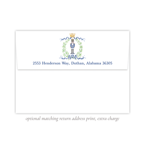 Nutcracker Royal Wreath Dark Blue Return Address Print
