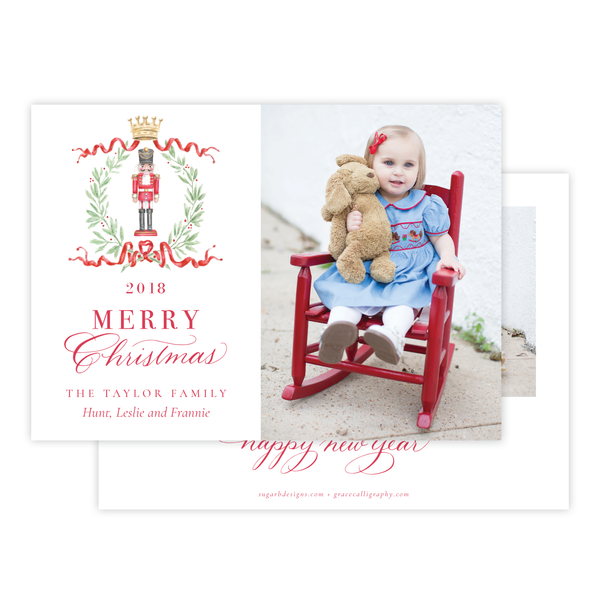 Nutcracker Royal Wreath Landscape Christmas Card