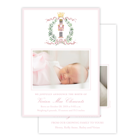 Nutcracker Royal Wreath Pink Birth Announcement Christmas Card
