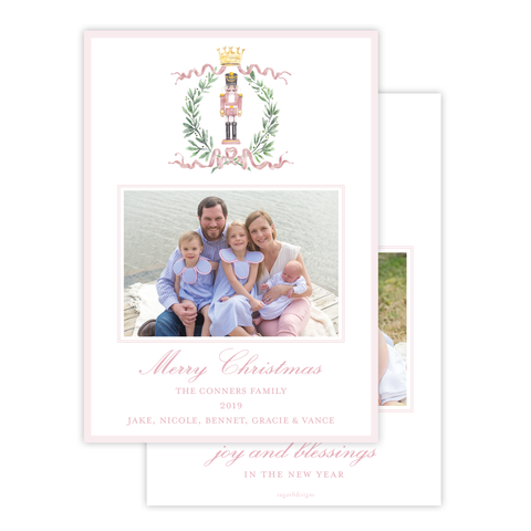 Nutcracker Royal Wreath Pink Vertical Christmas Card