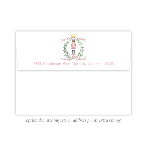 Nutcracker Royal Wreath Pink Return Address Print
