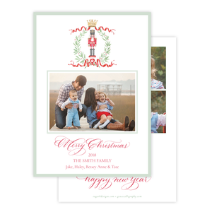 Nutcracker Royal Wreath Vertical *Multi Photo, Various Lengths* Christmas Card