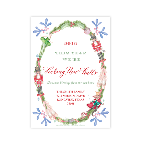 Nutcracker Suite Change of Address Christmas Card