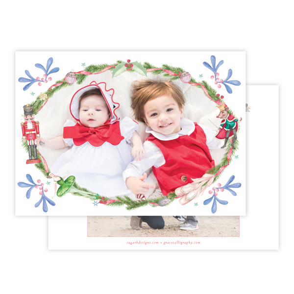 Nutcracker Suite Horizontal Single Photo Backer Christmas Card