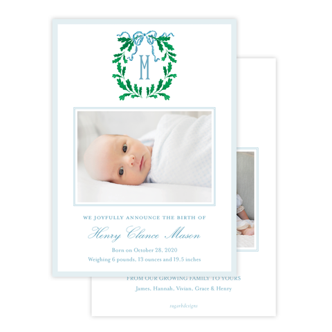 Oak Wreath Blue Christmas Card Birth Announcement