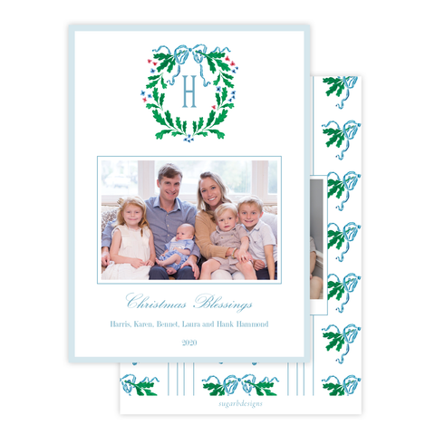 Oak Wreath Blue and Red Christmas Card Portrait