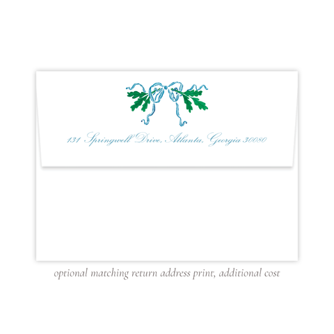 Oak Wreath Blue A7 Return Address Print