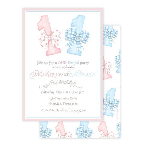 One-Derful Pink and Blue Twins Birthday Invitation