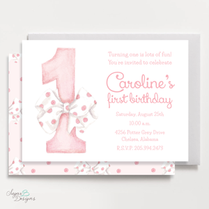 One-Derful Pink Birthday Invitation