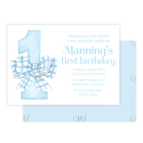 One-Derful Blue Birthday Invitation
