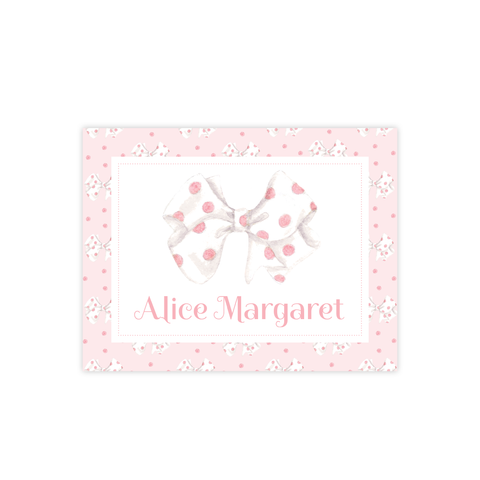 One-derful Pink Bow Fold Over Stationery