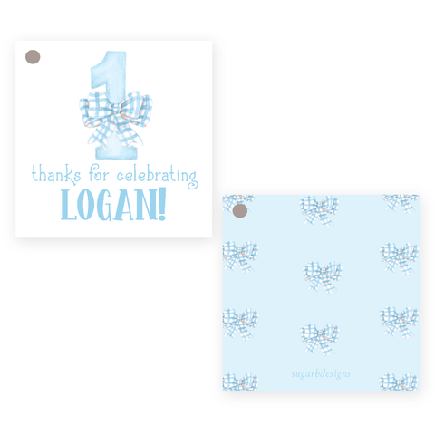 One-Derful Blue Square Party Favor Gift Tag