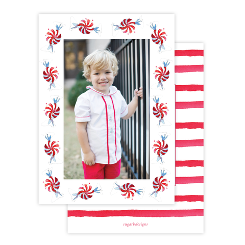 Peppermint Parade Christmas Card Border Portrait