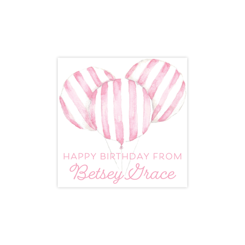 Balloon Pink Stripe Square Sticker