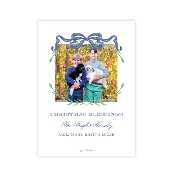 Parker Wreath Blue Oval Portrait Christmas Card