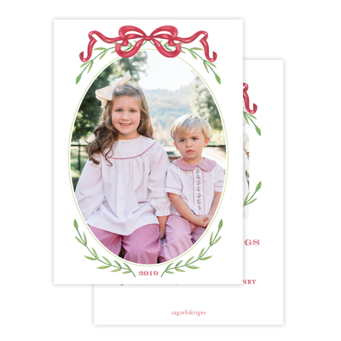Parker Wreath Red Oval Portrait Christmas Card