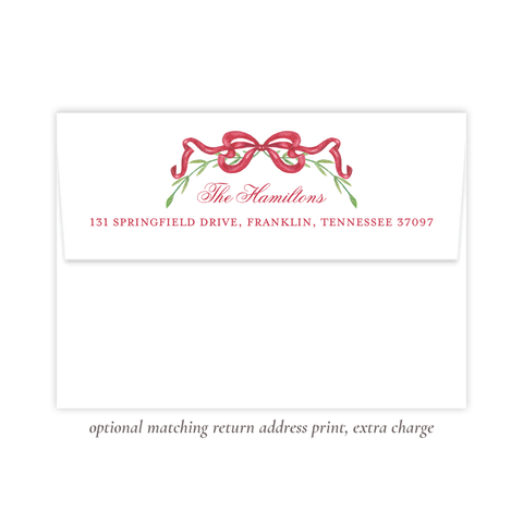 Parker Wreath Red Christmas Return Address Print
