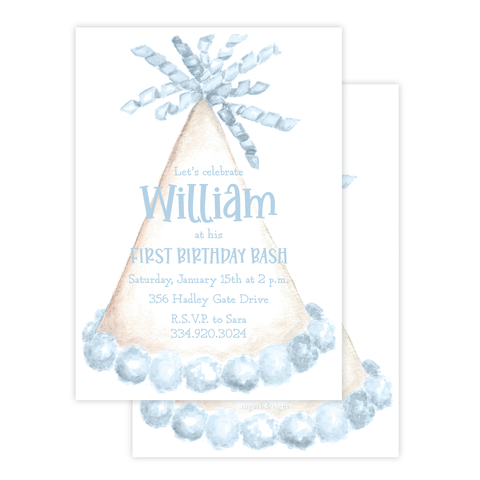 Party Hat Light Blue Birthday Invitation