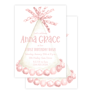 Party Hat Light Pink Birthday Invitation