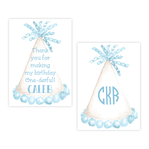 Party Hat Blue 4 Bar Party Favor Gift Tag