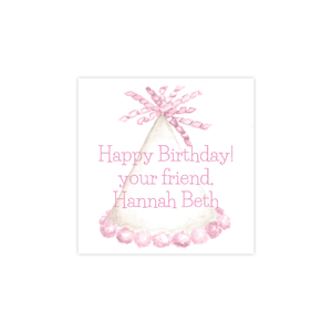 Party Hat in Dark Pink Square Sticker