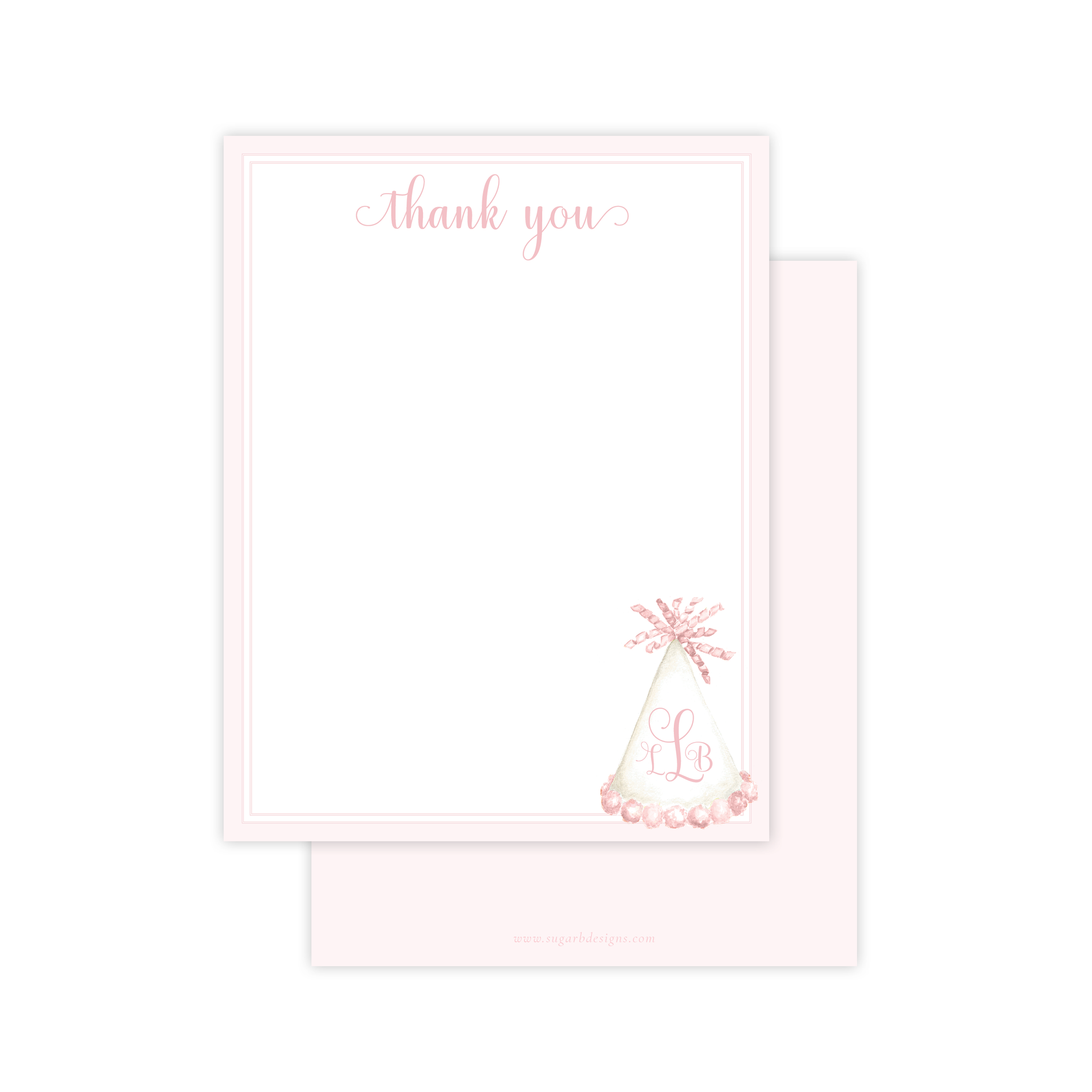 Party Hat Light Pink Flat Stationery