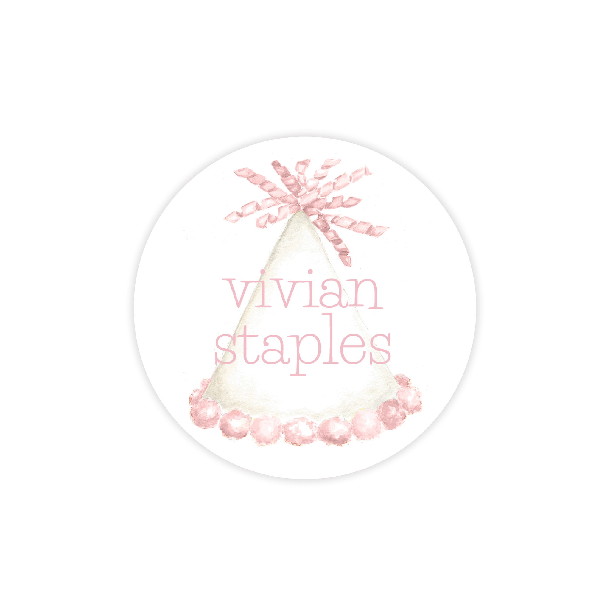 Party Hat in Light Pink Round Sticker